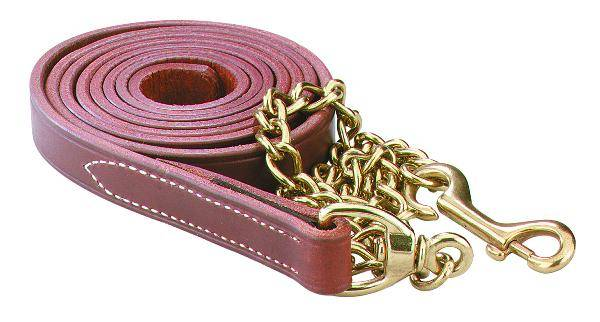 Perri's Leather Lead With 30'' Solid Brass Chain