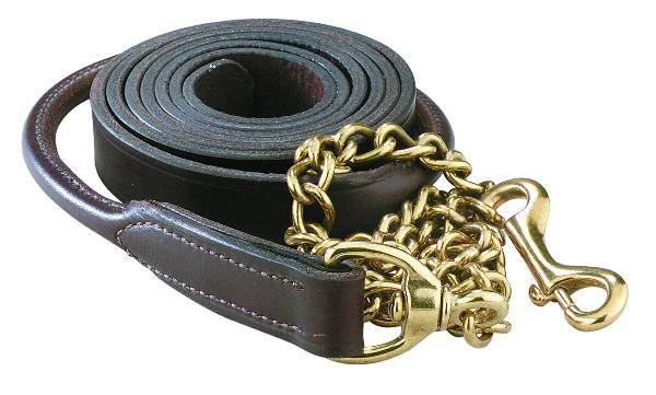 Perri's Rolled Leather Lead With 30'' Solid Brass Chain