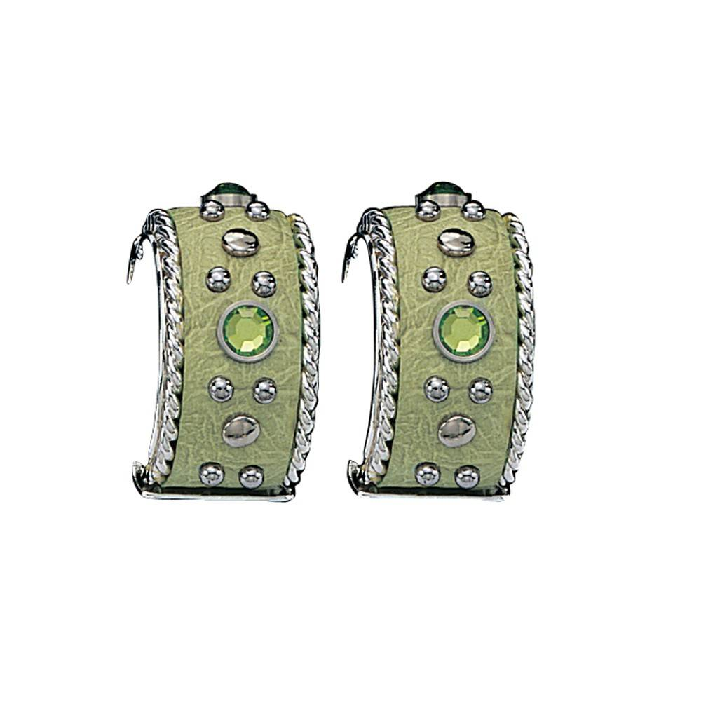 Montana Silversmiths Green Leather Cuff Earrings with Rhinestones