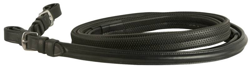 DaVinci Flat Rubber Covered Reins with Buckle Ends