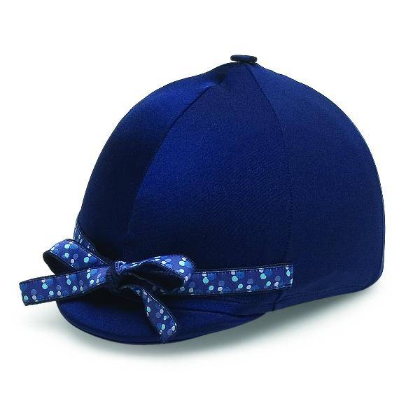 Perri's Navy Helmet Cover With Blue Dot Ribbon