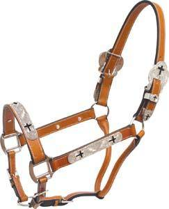 Cowboy Pro Leather Show Halter With Cross Silver