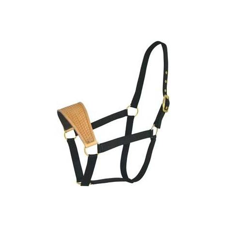 Abetta Nylon Halter with Basket-Tooled Leather Noseband