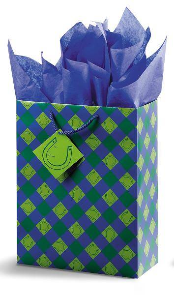 Lucky You! Vertical Vogue Gift Bag - Blue/Green