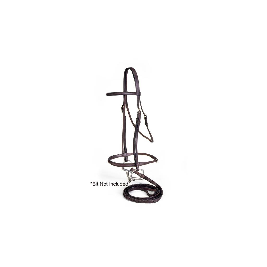 EquiRoyal Premium Leather Raised Snaffle Bridle With Laced Reins