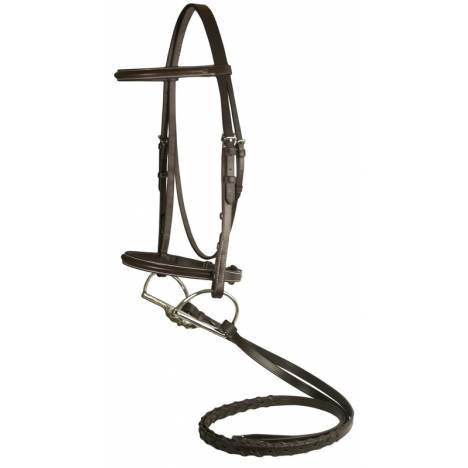 DaVinci Plain Raised Bridle with Flat Laced Reins