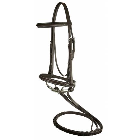 DaVinci Plain Raised Padded Bridle with Flat Laced Reins