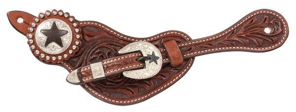 Tough-1 Premium Leather Floral Tooled Spur Straps Star Hardware