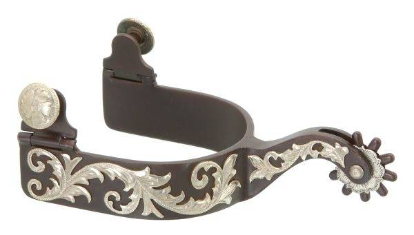 Kelly Silver Star Men's Spurs - Engraved Floral