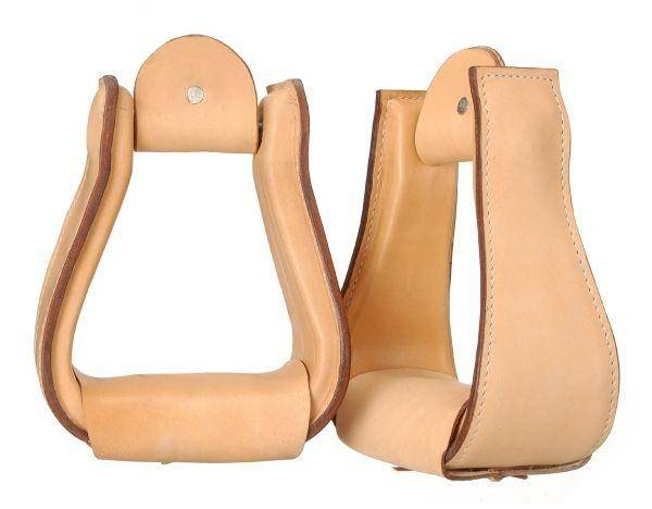 Tough-1 Wide Leather Covered Stirrups