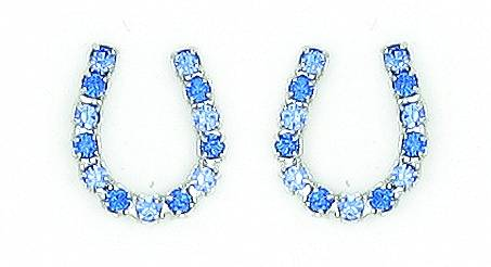 Finishing Touch Blue Rhinestone Horseshoe Earrings