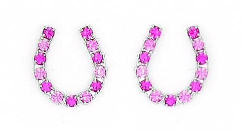 Finishing Touch Rhinestone Horseshoe Earrings - Pink