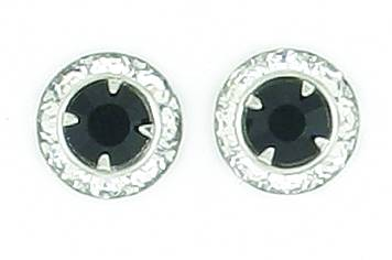 Finishing Touch Rondelle Stone Earrings - Jet Black