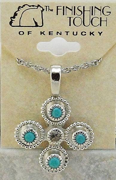 Finishing Touch Five-Stone Swarovski Crystal & Turquoise Cross Pendant