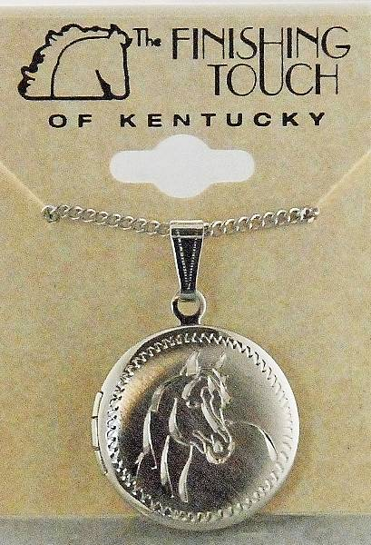 Finishing Touch Engraved Quarter Horse Head On Round Locket