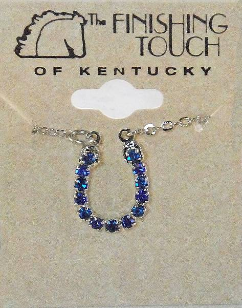 Finishing Touch Blue Rhinestone Horseshoe Necklace