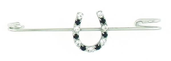 Finishing Touch Jet/Crystal Rhinestone Horseshoe Stock Pin