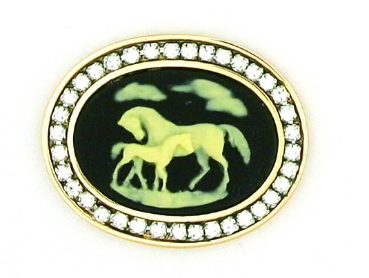 Finishing Touch Swarovski Crystal Stone Mare and Foal Cameo Pin - Black