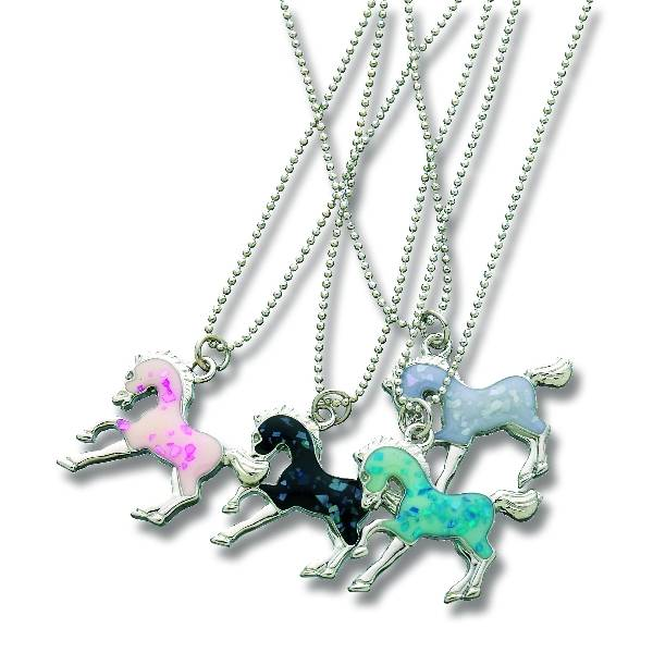 Enamel Horse Pendant Necklace