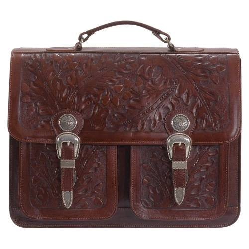 AMERICAN WEST Mahogany Oakleaf 2-Compartment Briefcase