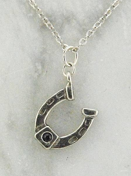 Finishing Touch Horseshoe Stone Necklace - Black