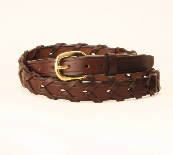 TORY LEATHER 3/4'' Laced Leather Belt with Brass Buckle