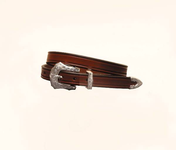 TORY LEATHER 3/4'' Plain Creased Belt with 3-Piece Engraved Silver Buckle Set
