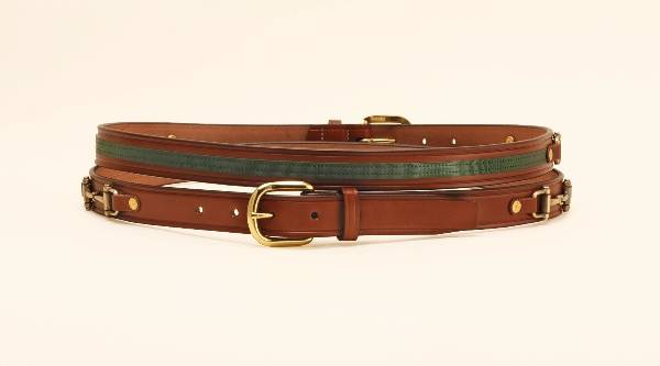TORY LEATHER 1'' Belt with Ribbon & Snaffle Bits
