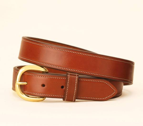 TORY LEATHER 1 1/4'' Double & Stitched Belt