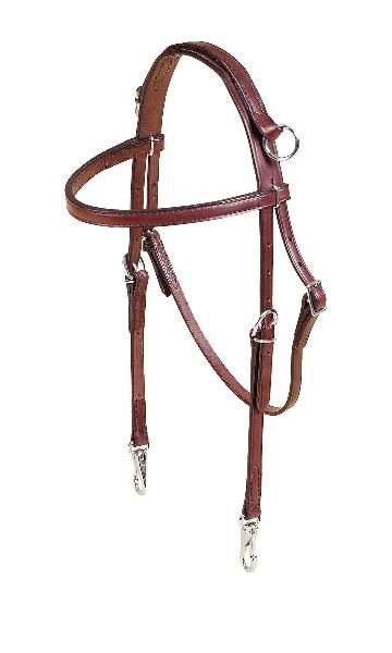 TORY LEATHER Brow Band Training Headstall - Nickel Snap Ends