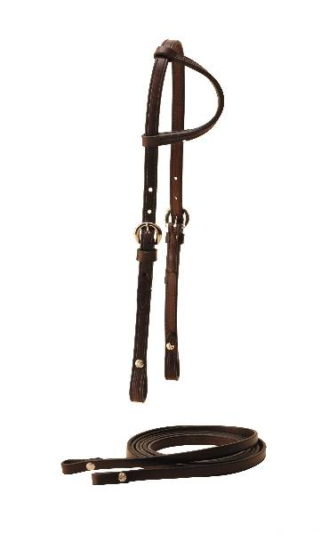 TORY LEATHER Pony Sliding Ear Headstall & Reins Filling