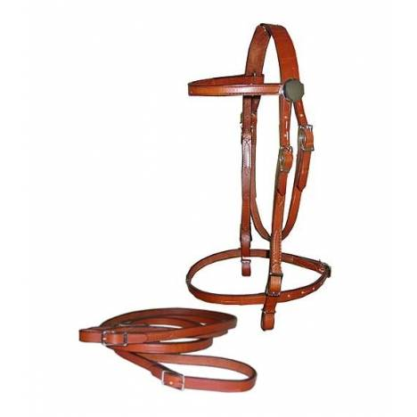 TORY LEATHER Browband Bridle & Reins Filling - Buckle Bit Ends