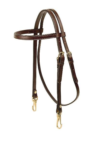 Tory Leather Browband Training Headstall - Snap Ends
