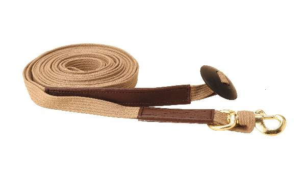 TORY LEATHER Cotton Web & Leather Lunge Line - Brass Bolt Snap