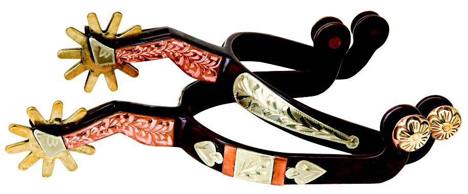 Weaver Leather Men's' Spur With Engraved Silver And Copper Trim