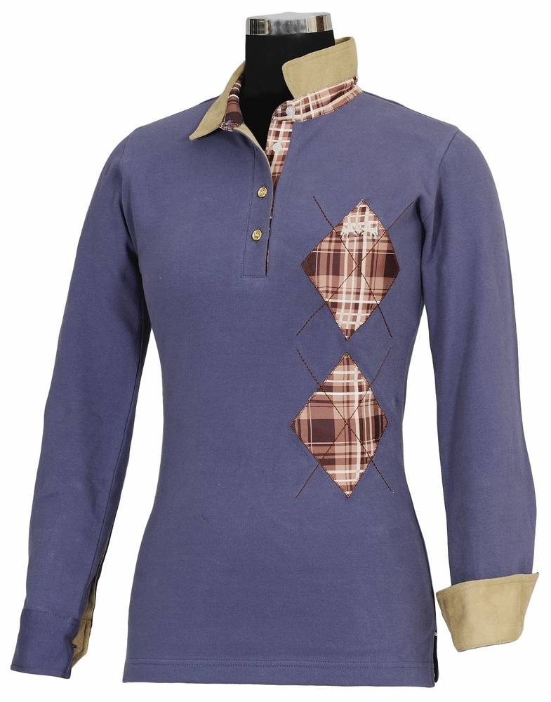 Equine Couture Ladies Woodland Long Sleeve Polo Shirt