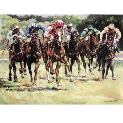 Final Furlong (Horse Racing) Blank Greeting Cards - 6 Pack