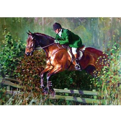 Over the Fence (Fox Hunting) Blank Greeting Cards - 6 Pack
