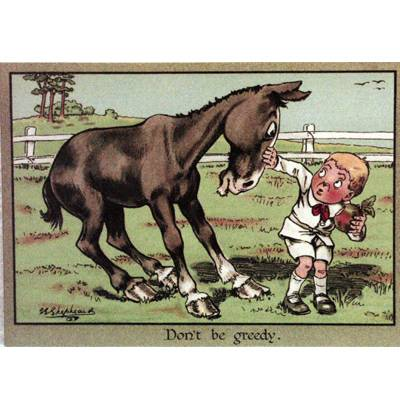 Horses - Don't be Greedy Blank Greeting Cards - 6 Pack