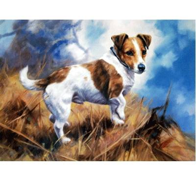 At Work (Jack Russell) Blank Greeting Cards - 6 Pack