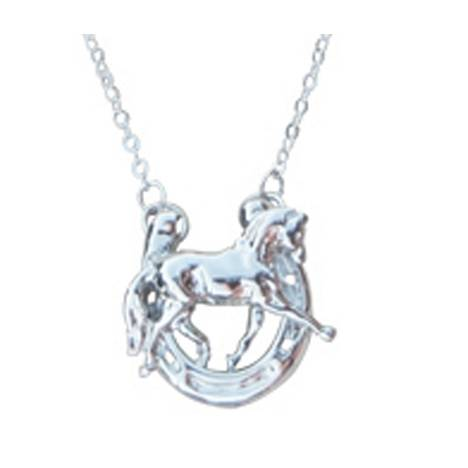 Dressage Horse in Horseshoe Pendant