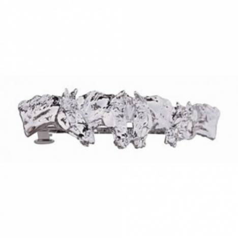 Four Horse Heads Hair Clip Platinum plated and comes on a hang card.