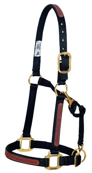Basketweave Overlay Adjustable Chin and Throat Snap Halter, 1''