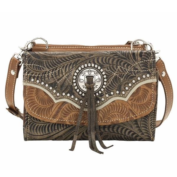 AMERICAN WEST Texas Two Step Small Handbag/Wallet Combination