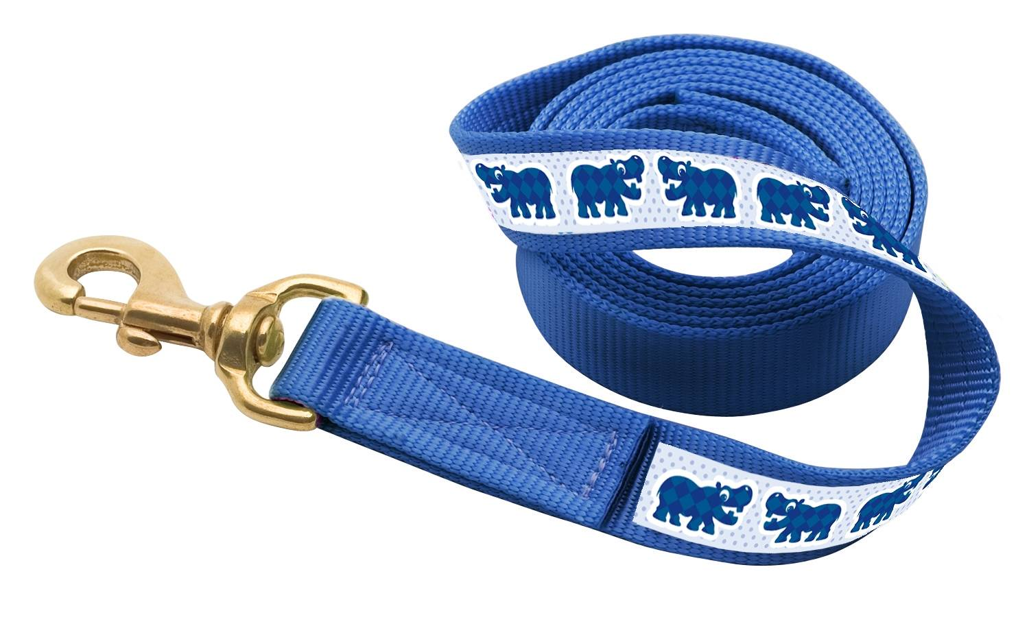 Perri's Ribbon Lead with Snap - Blue Hippos