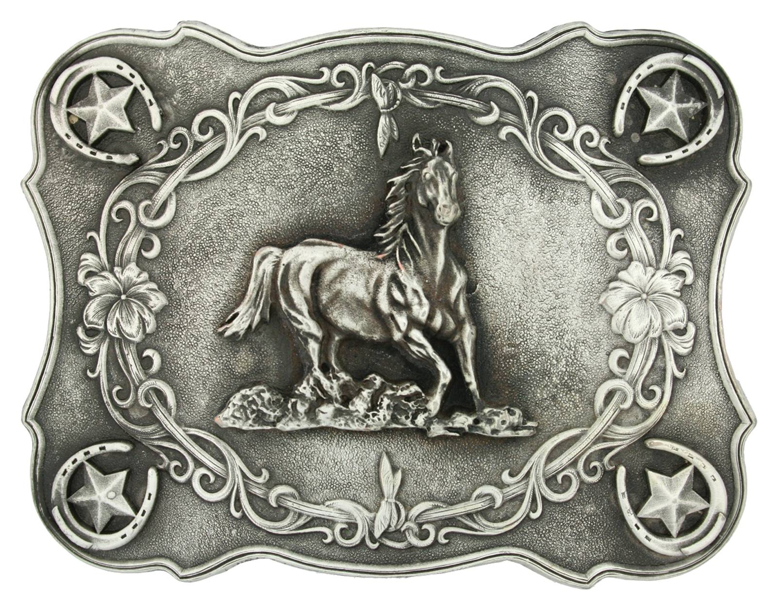 Montana Silversmiths Scallop Running Horse Classic Antiqued Attitude Belt Buckle