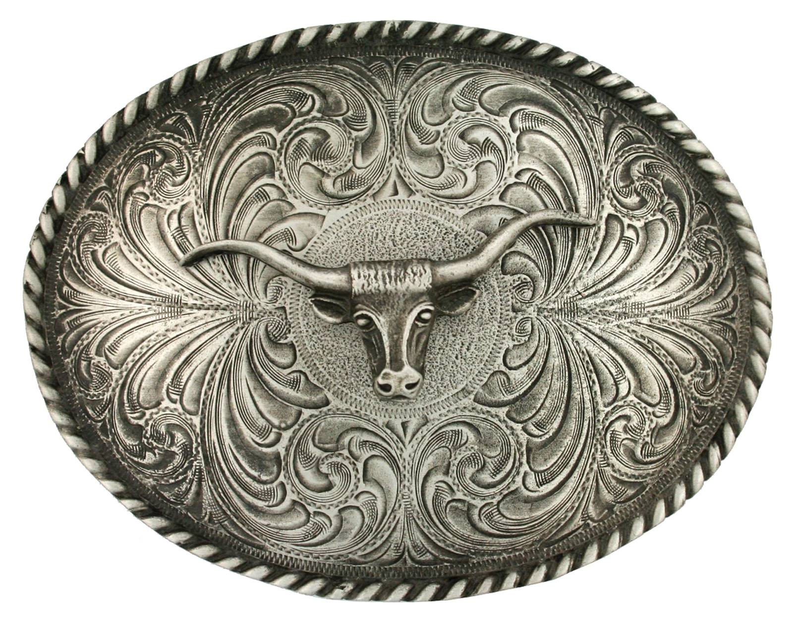 Montana Silversmiths Twisted Longhorn Classic Antiqued Attitude Belt Buckle