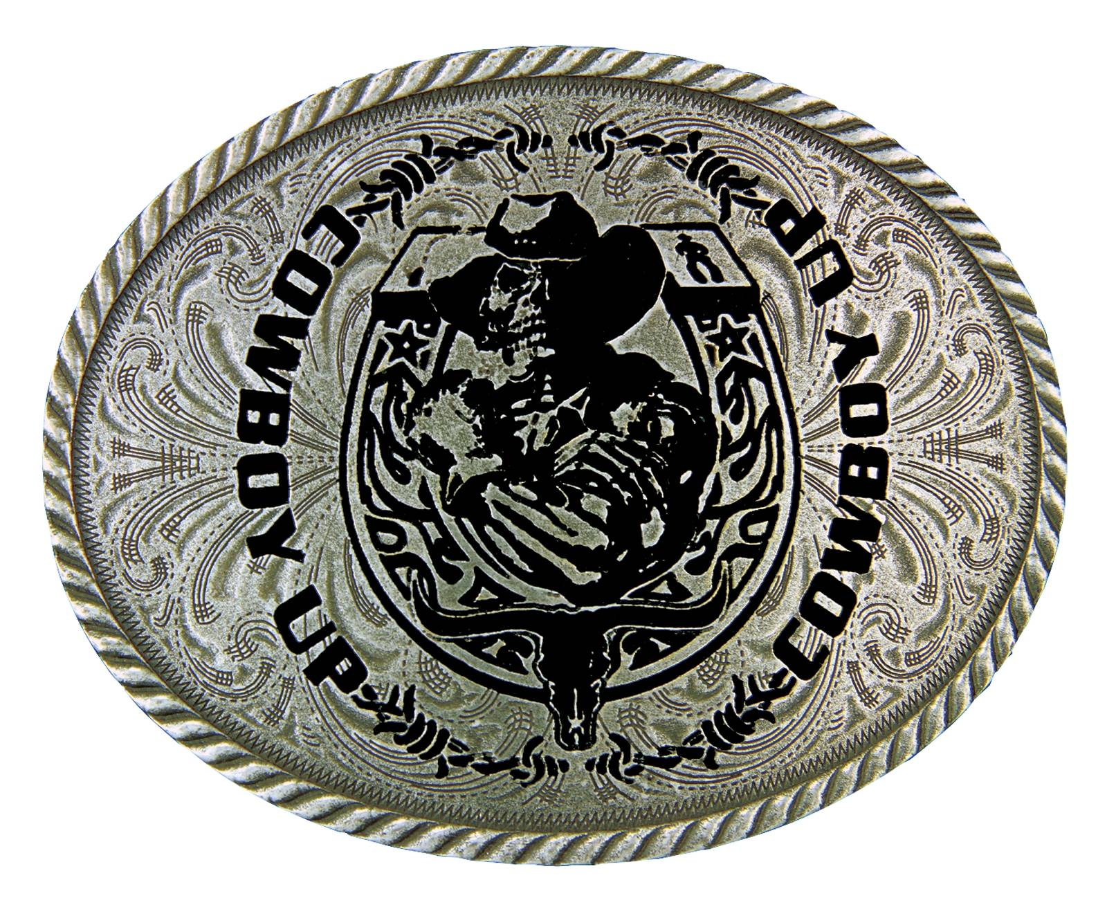 Montana Silversmiths Cowboy Up Ghost Rider Attitude Buckle