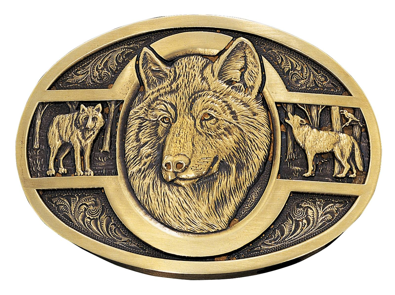 Montana Silversmiths Three Wolves Brass Heritage Attitude Belt Buckle