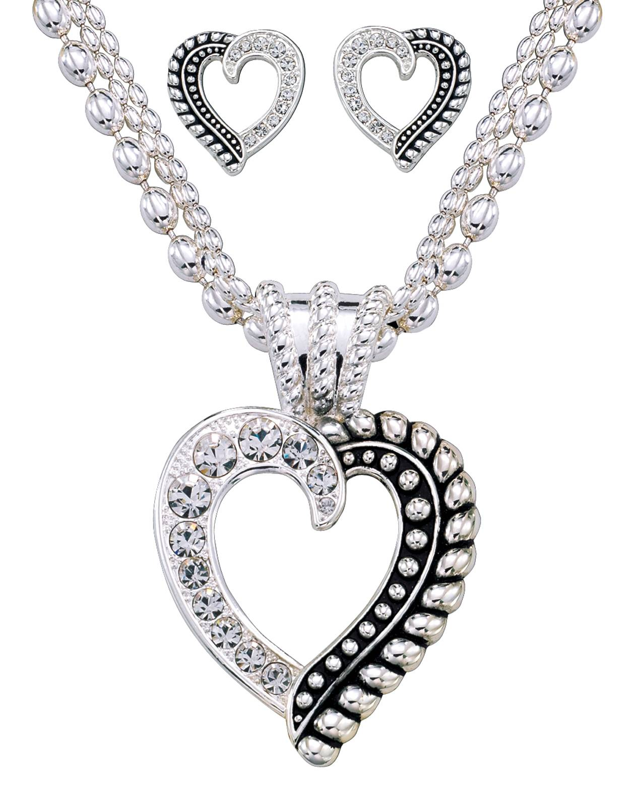 Montana Silversmiths Twisted Rope and Crystals Heart Jewelry Set